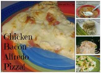 stuffing-stuffed chicken, easy salsa chicken, chicken and black bean soup, hawaiian haystacks, chicken bacon alfredo pizza