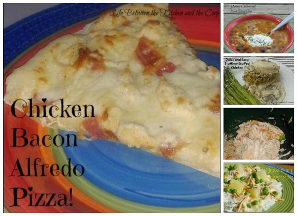 easy salsa chicken, chicken bacon alfredo pizza, hawaiian haystacks, chicken and black bean soup, stuffing-stuffed chicken with mushroom sauce