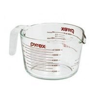Pyrex 6001076 Measuring 4 Cup (32 Oz) Glass, Clear, Red