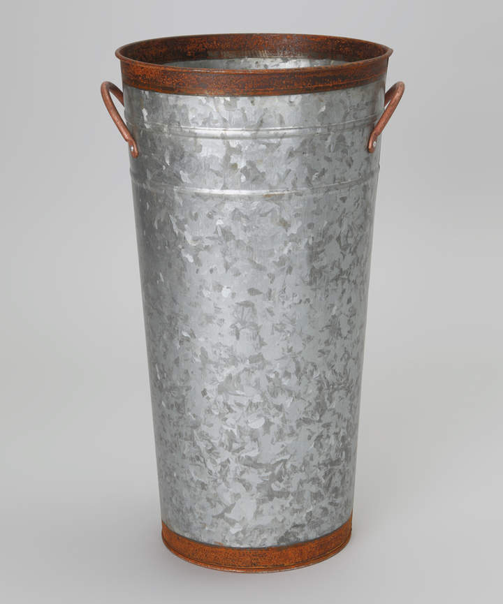 Brown and Silver Rustic Bucket Planter