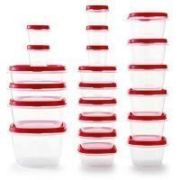 Rubbermaid Easy Find Vented Lids BPA Free Plastic Food Storage Containers, Set of 21 (42 Pieces Total), Racer Red | Great for Meal Prep | Reusable & Stackable