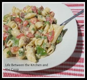 pasta salad, bacon