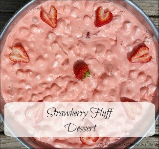 I want to share with you this recipe for Strawberry Fluff. My mom makes this often for family gatherings. She calls it a fruit salad. I call it a dessert. Call it whatever you like, but definitely call this Strawberry Fluff Dessert yummy! This refreshing treat is creamy and sweet. And let's be honest...you can't go wrong with fresh strawberries! (Maybe you have some from your garden?) It makes a great side dish for barbecues and parties, too!