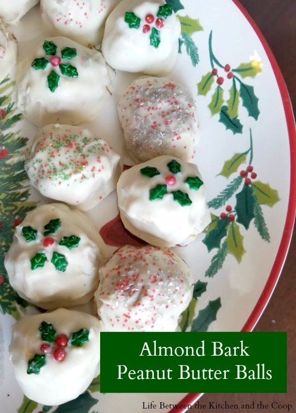 Almond Bark No Bake Peanut Butter Balls These easy no bake almond bark peanut butter balls make the perfect Christmas treat for your next holiday party, for neighbor gifting, or for your family Christmas Eve at home! Inside is a creamy, peanut buttery filling and it's covered with a sweet white candy crust. Decorate them to suit the occasion! #candy #peanutbuttercups #peanutbutter #peanutbutterrecipes #christmastreats #holidayrecipes
