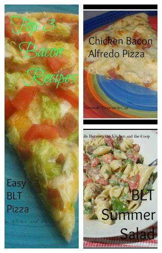 top 3, recipe, bacon, pizza, pasta