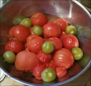 blanched tomatoes, canning