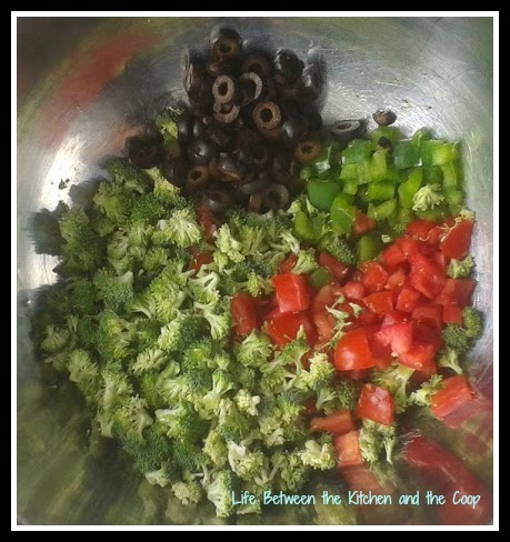green peppers, tomatoes, broccoli, black olives, salad