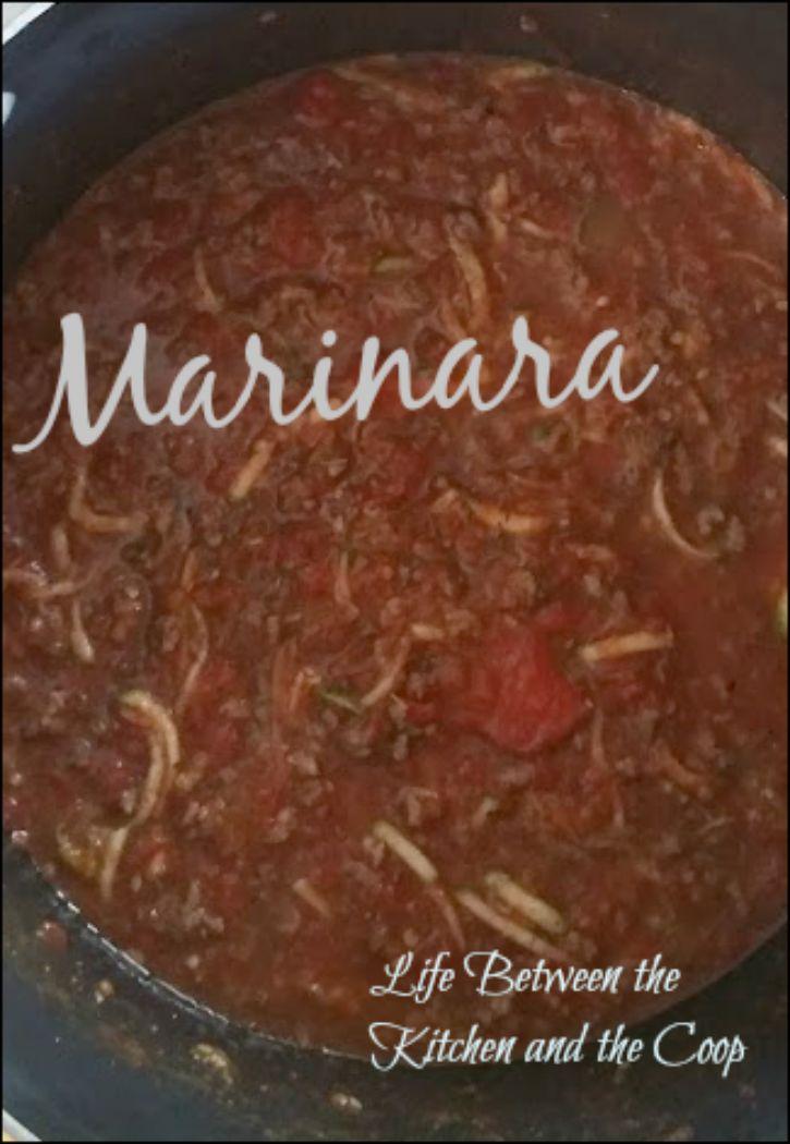 pasta, red sauce, zucchini